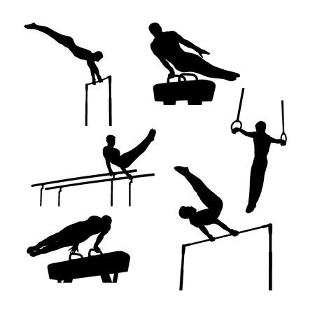 conjunto, grupo, deportes, gimnasia, hombres, atletas, negro, siluetas