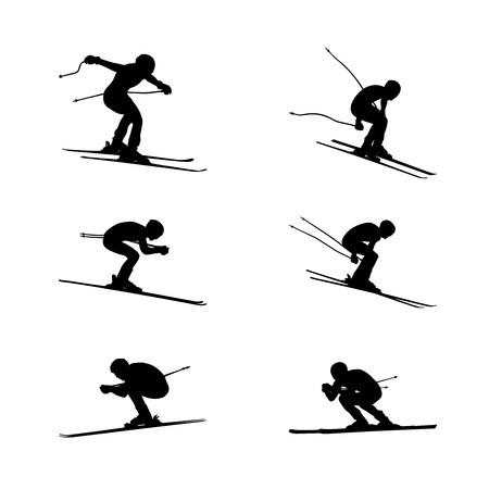 set group alpine skiing sport men downhill
