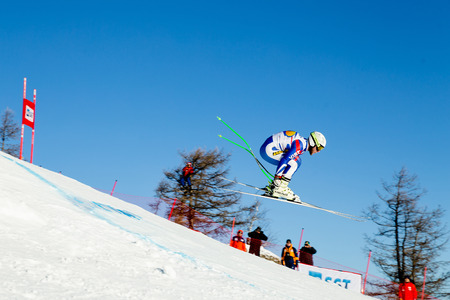 Magnitogorsk, Russia - December 18, 2018: men athlete racer in downhill skiing during National championship alpine skiing Sajtókép