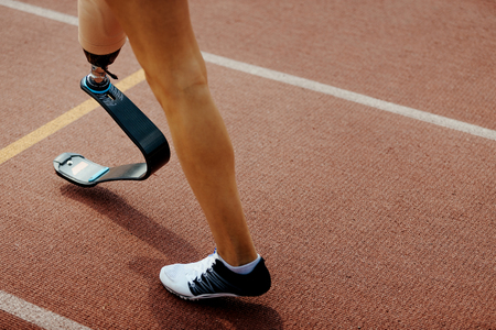 starting line running amputee woman runner with prosthetic