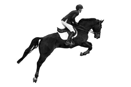 sport equestre cavaliere a cavallo che salta immagine in bianco e nero Vettoriali