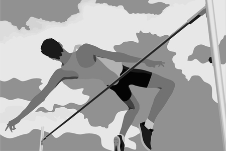 high jump athlete jumping on background of clouds Stock Illustratie