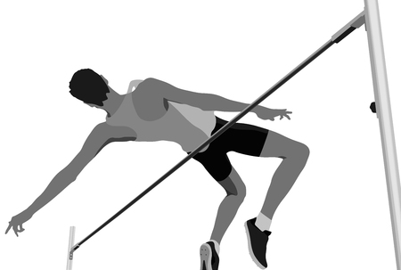 high jump men athlete jumping black-white vector Stock Illustratie
