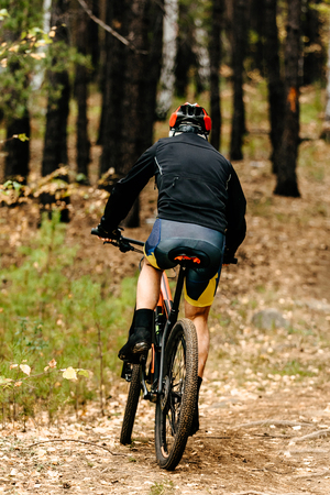 back male cyclist on mountain bike riding on forest trail
