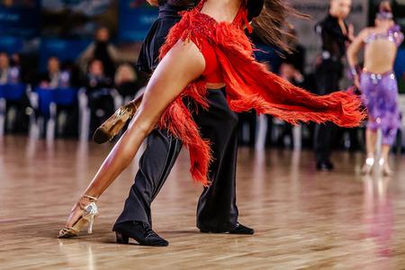 dancers athletes man and woman dancing latin program