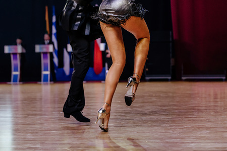 dancing latin program feet of dancers woman and man