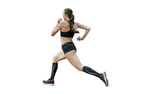 female athlete runner training run isolated on white background Archivio Fotografico