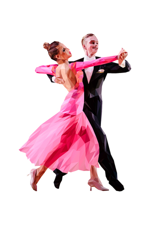 couple of dancers ballroom dancing polygonal color vector Illustration
