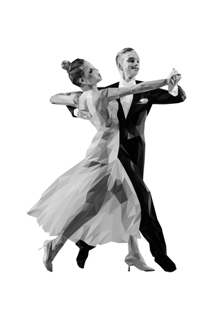 couple of dancers ballroom dancing polygonal shade of gray