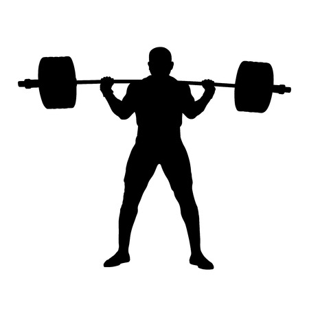 male powerlifter stand with barbell on shoulders to squat. black silhouette on white background