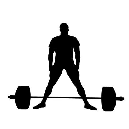 Atleta levantador de pesas de pie antes del ejercicio de peso muerto silueta negra