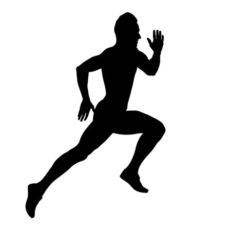 muscular sprinter runner athlete fast running black silhouette