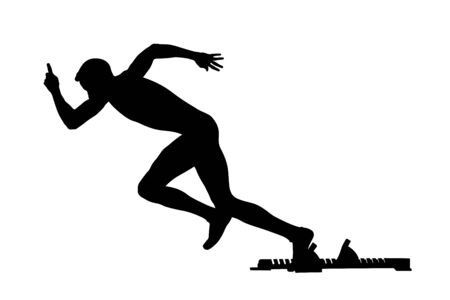 start athlete runner starting blocks black silhouette in athletics  イラスト・ベクター素材