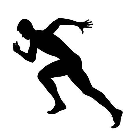 il velocista corridore atleta muscoloso inizia a correre silhouette nera Vettoriali