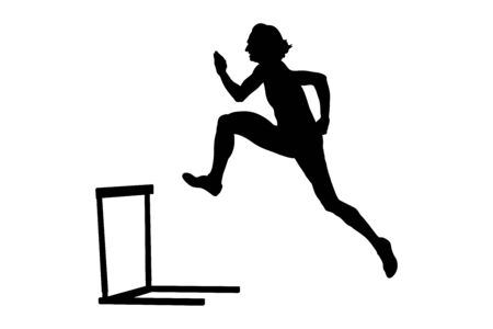 women athlete running 400 meter hurdles black silhouette