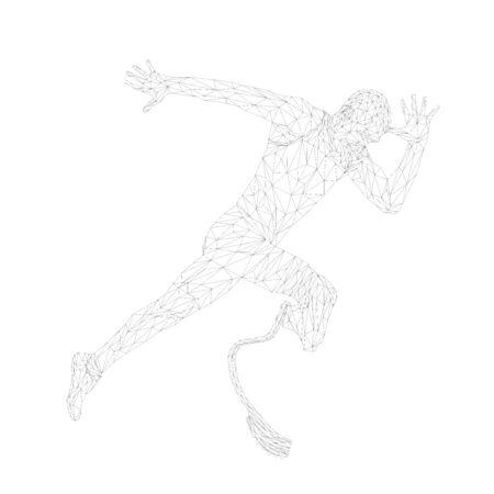 start running disabled runner amputee leg prosthetic polygonal wireframe