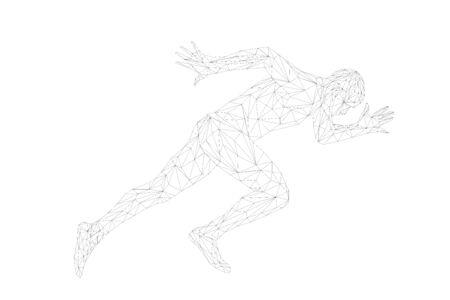start running sprinter runner man athlete polygonal wireframe 写真素材 - 129300861