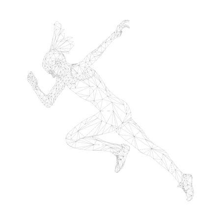 faster start running woman sprinter runner polygonal wireframe