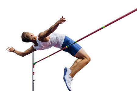 흰색 배경에 고립 된 막대 위에 높이뛰기 선수 점퍼
