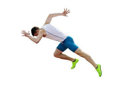 start run sprint male athlete runner isolated on white background Stock Photo