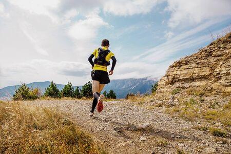 trail runner athlete run mountain marathon. skyrunning sport race. Reklamní fotografie