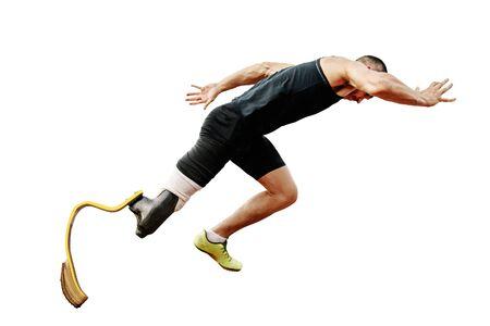 athlete runner disabled with prosthetic start run on white background