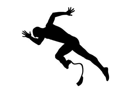 commencer sprint runner désactivé silhouette noire