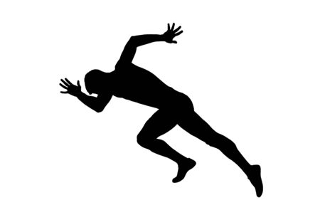 start sprinter runner athlete black silhouette Vector Illustration