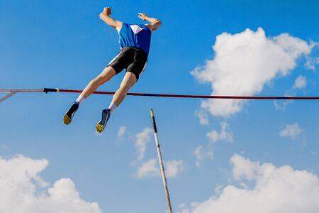 athlete pole vaulter successful attempt of competition in athletics