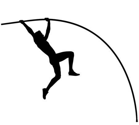 Atleta Masculino salto con pértiga en salto con pértiga silueta negra Foto de archivo