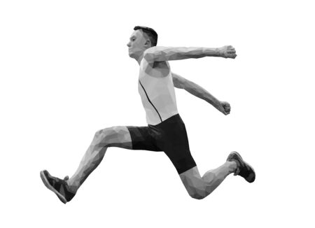 male athlete jumper in triple jump black and white image low poly Иллюстрация