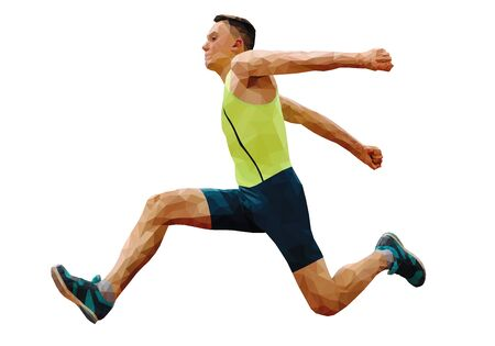 athlete jumping in triple jump polygon vector