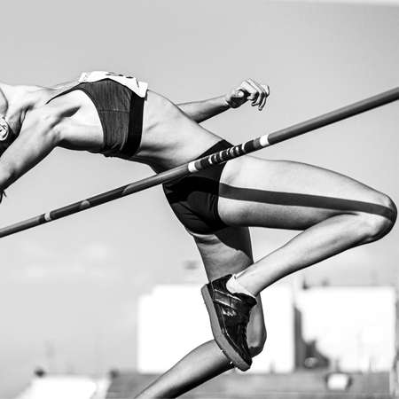 high jump in athletics women athlete black and white image
