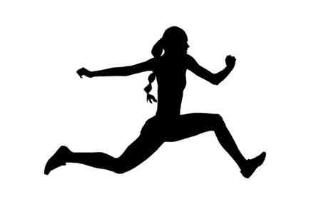 women athlete jumper triple jump black silhouette