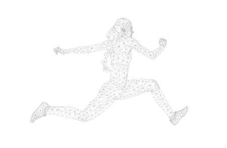 women athlete jumper in triple jump polygon wireframe vector