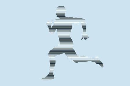 L'homme coureur sprinter silhouette en lignes noires sur fond bleu
