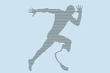 runner athlete with disability in prosthetic silhouette in black lines on blue background Banque d'images - 140554082