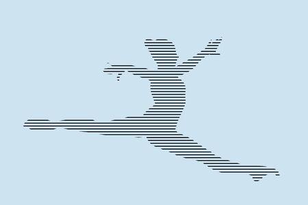 female gymnast split in jump silhouette in black lines on blue background
