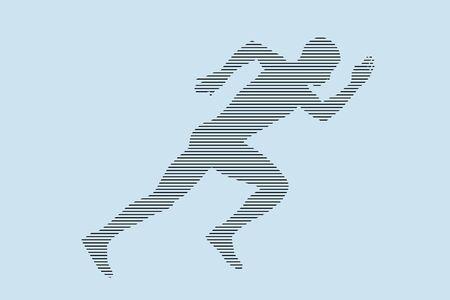 start running athlete runner sprinter silhouette in black lines on blue background Vecteurs