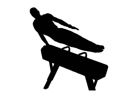 gymnast exercise pommel horse in gymnastics black silhouette