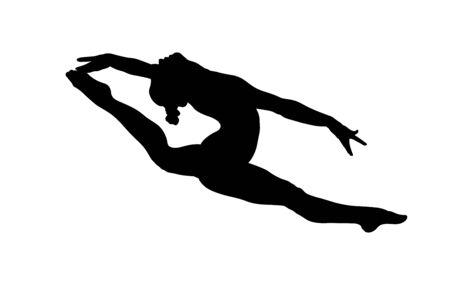 fille gymnaste divisée en gymnastique de saut. silhouette noire