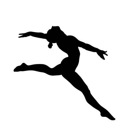 side view woman gymnast split jump in gymnastics. black silhouette
