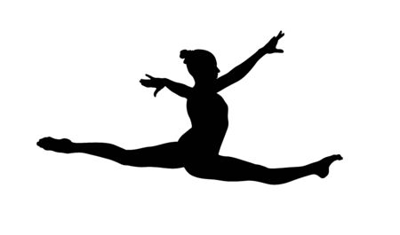 girl gymnast exercise split in jump. isolated black silhouette