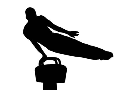 athlete gymnast exercise on pommel horse. isolated black silhouette Banque d'images - 144895298
