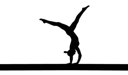 girl gymnast handstand exercise on balance beam. isolated black silhouette Illustration