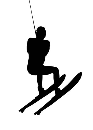 male athlete on water ski in waterskiing sport black silhouette