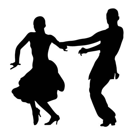 black silhouette couple of dancers man and woman