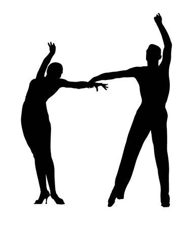 black silhouette couple of dancers in ballroom dancing