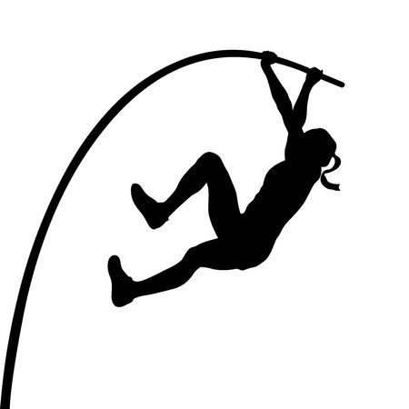 woman athlete pole vaulter in pole vault black silhouette