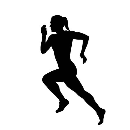 woman athlete sprinter run black silhouette vector Illustration